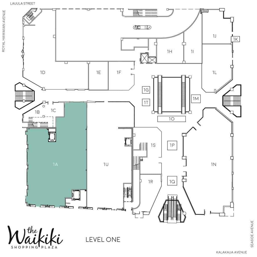 Waikiki Shopping Plaza Directory map of level 1