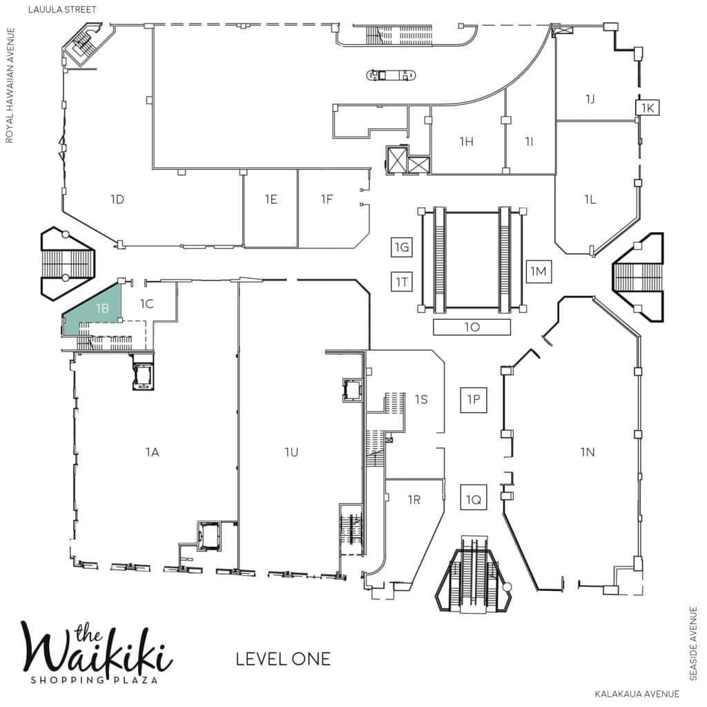 Waikiki Shopping Plaza Directory Map 1B