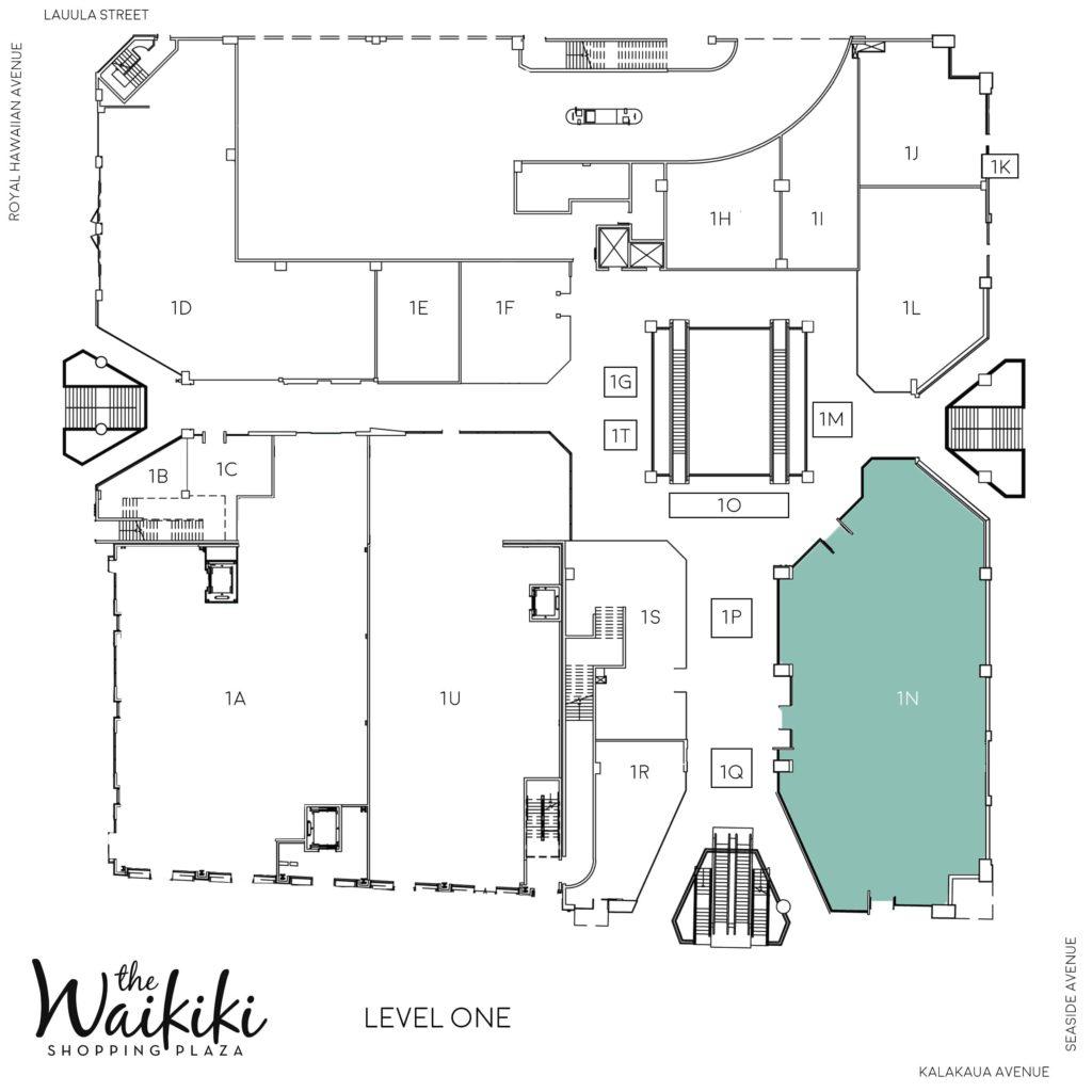 Waikiki Shopping Plaza Directory Map 1N