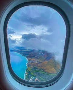 Aerial view of Oahu from an airplane