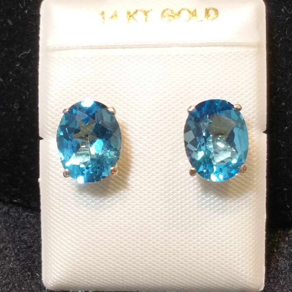 Blue topaz earrings from Pearl & Coral
