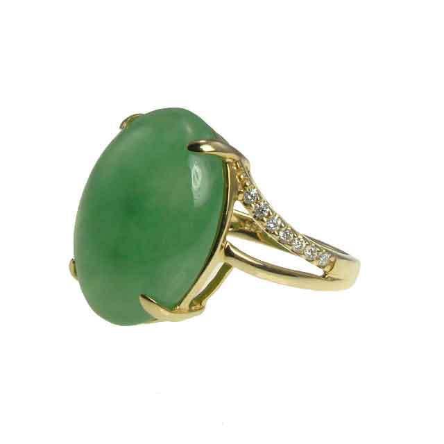 Jade and diamond gold ring from Jewelry Kingdom Hawaii