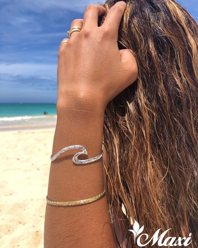 Silver wave bracelet from Maxi Hawaiian Jewelry
