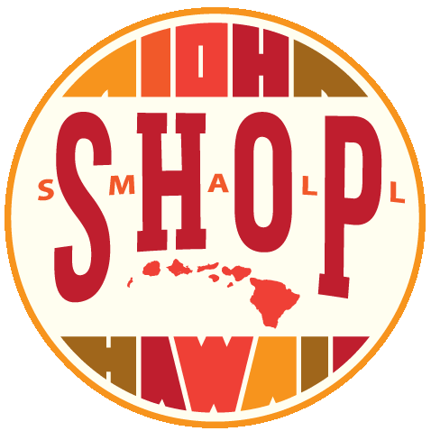 Red, yellow, and orange Shop Small badge