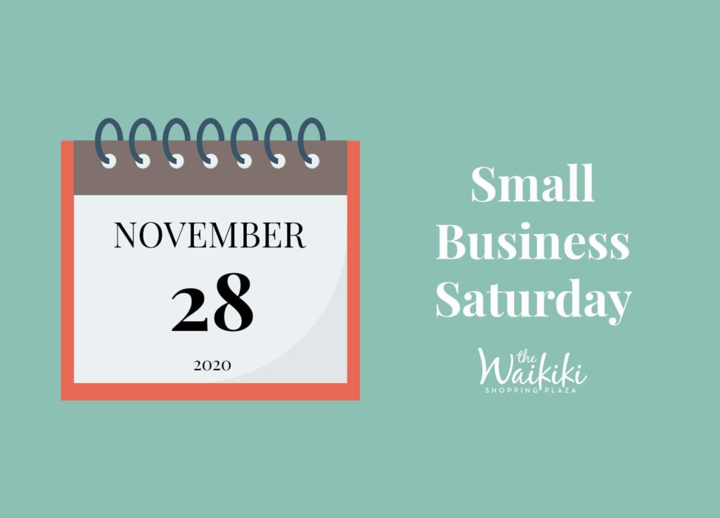"""Graphic with a seafoam-colored background. On the left-hand side, there is a calendar set on the date November 28, 2020. On the right-hand side, it says, """"Small Business Saturday."""""""