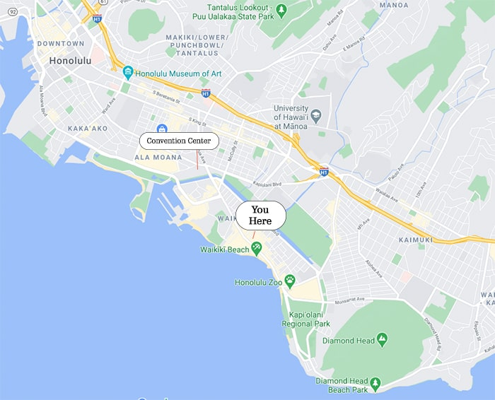Google Map of Honolulu showing the location of Waikiki Business & Shopping Plazas in relation to the Honolulu Convention Center