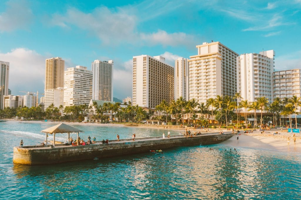 Landscape of Waikiki from the water of Waikiki Beach