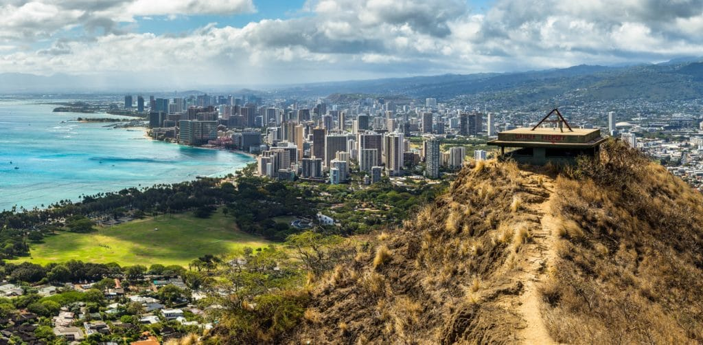 view of Honolulu and Waikiki skyline