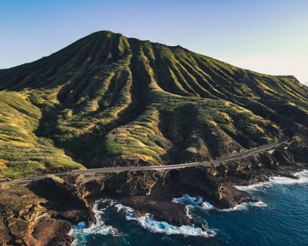 drone shot of Koko Head Crater in Oahu, Hawaii
