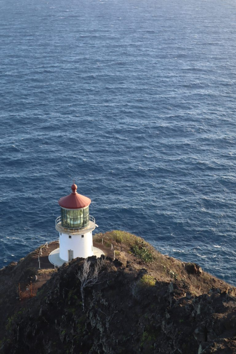 lighthouse on the edge of a cliff overlooking the ocean