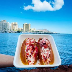 lobster sandwiches with Diamond Head in the background